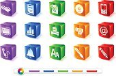 Computer Icon,Text,Icon Set,Mobile Phone,Telephone,Fax Machine,Editor,Data,Retail Display,Computer Printer,Mail,CD,Computer Monitor,Alarm Clock,Clipboard,Pen,Discussion,Pencil,Box - Container,Blue,Vector,Cube Shape,Red,Orange Color