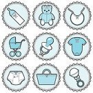 Diaper,Pacifier,Toy Rattle,Religious Icon,Baby Carriage,Moses Basket,Symbol,Toy,Vector,Teddy Bear,Baby Bottle,Diaper Pin,Baby Goods,Bib,Cute,Infant Bodysuit,Ilustration,Clothing,Icon Set,Stuffed Toy,Blue,Clip Art,Design Element,Stitch,Bow,Pastel Colored,Vector Icons,Vector Cartoons,Babies And Children,Lifestyle,Masculinity,Illustrations And Vector Art