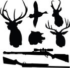 Deer,Hunting,Rifle,Elk,Wild Boar,Shotgun,Duck,Vector,Outline,Black Color,White,Wild Animals,Individual Sports,Sports And Fitness,Animals And Pets,White Background,Illustrations And Vector Art
