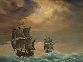 Tall Ship,Galleon,Sailing Ship,Storm,Military Ship,Passenger Ship,Sea,Paintings,Nautical Vessel,Sail,Painted Image,Art,Wave,Regatta,Fairy Tale,Picture Book,Cyclone,Gale,Rain,Horizon Over Water,Weather,Transportation,Wind,Arts And Entertainment,Nature,Bodies Of Water,Visual Art