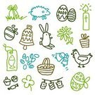Chicken - Bird,Clover,Fish,paques,Lamb,Eggs,Rabbit - Animal,icones,Chocolate,Sketch,Drawing - Art Product,Drawing - Activity,Easter Egg,Springtime,Flower,Fete,Candle,Icon Set,Innocence,Bell,Decoration,Gift,Vector Ornaments,Vector Icons,Celebration,Easter,Man Made Object,festivites,Illustrations And Vector Art,Holidays And Celebrations