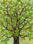 Paintings,Painted Image,Tree,Nature,Leaf,Color Image,Flower,Multi Colored,Art Product,Green Color,No People,Vertical,Design,Brown,Ilustration,Springtime,Plant,Full Frame,Colored Background,Branch