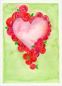Valentine's Day - Holiday,Heart Shape,Wedding Invitation,Flower,Love,Rose - Flower,Watercolor Painting,Backgrounds,Frame,Art,Paper,Painted Image,Red,Handmade Paper,Valentine's Day,Weddings,Holidays And Celebrations