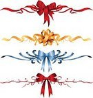 Ribbon,Bow,Clip Art,Red,Gold Colored,Vector,Blue,Decoration,Ilustration,Isolated,No People