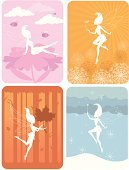 Fairy,Four Seasons,Autumn,Magic Wand,Silhouette,Single Flower,Bee,Tree,Forest,Winter,Leaf,Season,Pink Color,Backgrounds,Springtime,Cloud - Sky,Summer,Sky,Cold - Termperature,Blue,Orange Color,Heat - Temperature,Nature,Snowflake,Fall,Spring,Nature Symbols/Metaphors