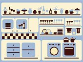 Domestic Kitchen,Furniture,Shelf,Kitchen Utensil,Washing Machine,Crockery,Plate,Home Interior,Blue,Wine Bottle,Indoors,Tile,Cooking Pan,Vase,Table,Fork,Furnace,Teapot,Spoon,Merchandise,Set,Cup,Saucer,Tea Cup,Machinery,Service,Glass,Flower,Bottle,Single Object,Plant,Jug,Illustrations And Vector Art,Food And Drink,Kitchen Equipment,Household Objects/Equipment,Objects/Equipment