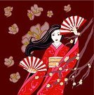 Kimono,Fan,East Asian Culture,Women,Blossom,Springtime,Obi Sash,Folding Fan,Ilustration,Flower,Vector,People,Dance,Arts And Entertainment,Spring,Season,Adult,Cultures,Long Hair,Nature