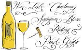 Wine Bottle,Wine,Calligraphy,Glass,Bottle,Ilustration,Corkscrew,Doodle,Sketch,White,Drawing - Art Product,Chardonnay Grape,Wineglass,Black Color,White Riesling Grape,Design Element,Scribble,Handwriting,Drinks,Alcohol,Food And Drink,White Wine,Isolated Objects