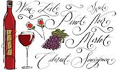 Wine,Grape,Wine Bottle,Ilustration,Sketch,Bottle,Glass,Wineglass,Drawing - Art Product,Rose - Flower,White,Merlot Grape,Doodle,Scribble,Black Color,Red Wine,Pinot Noir Grape,Cabernet Sauvignon Grape,Design Element,Drinks,Alcohol,Food And Drink,Isolated Objects