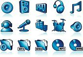 Headphones,Religious Icon,Speaker,Music,Drum,Sound Mixer,Vector,Set,Volume - Fluid Capacity,Sound,Computer Icon,Audio Equipment,Symbol,Ilustration,Graphic Equaliser,Microphone,Blue,File,Design Element,CD-ROM,Musical Note,DVD,Vector Icons,Technology,Computers,Concepts And Ideas,Collection,Illustrations And Vector Art