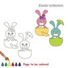 Kid Game,Kid Fun,Animal,Cute,Coloring,Illustration,Outline,Easter,Hare,Animal Egg,Vector,Blue,Pink Color