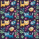 Flower,Domestic Cat,Animal,Cute,Wallpaper,Illustration,Animal Markings,Business Finance and Industry,Animal Eye,Berry Fruit,Seamless Pattern,Bird,Heart Shape,Textile Industry,Young Animal,Animal Body Part,Vector,Undomesticated Cat,Tracing,Blue,Pattern,Textile