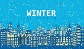 Abstract,No People,Background,Christmas,Town,Snowflake,Illustration,Non-Urban Scene,Winter,Night,Street,Season,Backgrounds,Snow,Vector,Architecture,Cityscape,Blue