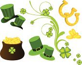 St. Patrick's Day,Luck,Irish Culture,Horseshoe,Symbol,Icon Set,Pot Of Gold,Hat,Republic of Ireland,Clover,Four Leaf Clover,Flower,Celtic Culture,Party - Social Event,Backgrounds,Traditional Festival,Gold,Bush,Northern Ireland,Celebration,Abstract,White Background,Parties,Plant,Holidays And Celebrations,Holiday Backgrounds
