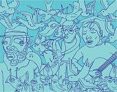 Jazz,Doodle,People,Blues,Guitar,Musical Band,Cool,Saxophone,Flower,Crowd,Teenager,Sketch,Singing,Drawing - Art Product,Group Of People,Bird,Group Of Animals,Backgrounds,Adolescence,Wing,Cartoon,Pencil Drawing,Vector,Funky,Youth Culture,Ilustration,Design,Creativity,Humor,Blue,Sound,Characters,Collection,Inspiration,Ideas,Crowded,Imagination,Flying,Concepts,Illustrations And Vector Art,Vector Backgrounds,Set,Vector Icons,Fun,Vector Cartoons,hand drawn,Clip Art