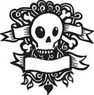Tattoo,Human Skull,Heart Shape,Skull and Crossbones,Drawing - Art Product,Banner,Human Bone,Black And White,Vector,Vine,Design,Grunge,Leaf,Symbol,Placard,Insignia,Death,Isolated,Ilustration,no background,Intricacy,Ornate,Concepts And Ideas,Illustrations And Vector Art,hand drawn,Ominous,Vector Ornaments,White Background