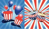 Independence,Day,Fourth of July,Hat,Uncle Sam,USA,Election,Republican Party,Patriotism,Politics,Backgrounds,Party - Social Event,Unity,Red,Ilustration,Celebration,Vector,Blue,Striped,Holiday Backgrounds,Holidays And Celebrations,Symbol,National Landmark,Holiday Symbols