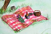 Picnic,Romance,Wine,Art,Picnic Basket,Park - Man Made Space,Summer,Wine Bottle,Tablecloth,Painted Image,Paintings,Dating,Beauty In Nature,Beautiful,Relationships,Watercolor Painting,Cold - Termperature,Arts And Entertainment,Lifestyle,Outdoors,Idyllic,Visual Art