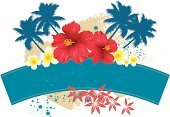 Hibiscus,Frangipani,Palm Tree,Single Flower,Sign,Flower,Silhouette,Placard,Frangipani Flowers,grunge texture,red flowers,Vector Backgrounds,tropical scene,Backgrounds,Vector Florals,Holidays,Travel Locations,Illustrations And Vector Art,tropical setting