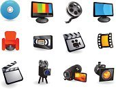 Movie,Film,Television Set,Symbol,Icon Set,The Media,Spotlight,Industry,Film Industry,Film Reel,Camera Film,Internet,Videocassette,DVD,Entertainment,Vector,Camera - Photographic Equipment,Film Slate,Stage Theater,Broadcasting,Clip Art,Tripod,Spot Lit,Reality TV,Negative,Computer Monitor,Vector Icons,Technology,Isolated Objects,Illustrations And Vector Art,Isolated-Background Objects