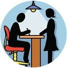 Interview,Women,People,Meeting,Computer Icon,Job Interview,Office Interior,Symbol,Working,Occupation,Desk,Two People,Discussion,Ilustration,Vector,Electric Lamp,Recruitment,File Clerk,Single Object,Business,Advice,IT Support,Sales Clerk,People,Business,Men,handcarves