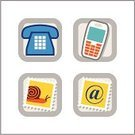Telephone,Mobile Phone,Computer Icon,Sign,Symbol,Postage Stamp,Icon Set,'at' Symbol,Mail,Interface Icons,Snail,Communication,Four Objects,Computer Graphic,Business,internet icons,Illustrations And Vector Art,Ilustration,Small Group of Objects,Color Image,web icons