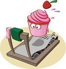 Cupcake,Treadmill,Dieting,Cake,Running,Gym,Exercising,Fat,Vector,Bakery,Sport,Jogging,Pink Color,Muscular Build,Equipment,Icing,Slim,Healthy Lifestyle,Unhealthy Eating,Motion,Sweet Food,Cherry,Melting,Snack,Determination,Exercise,Beauty And Health,Food And Drink,Baking