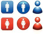 Male,Female,Symbol,Stick Figure,Women,Computer Icon,Men,Circle,Interface Icons,Simplicity,Sparse,Square,Vector,Digitally Generated Image,Blue,Isolated On White,People,Design Element,Concepts And Ideas,Modern,White Background,Shiny,Empty