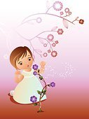 Magic,Mystery,New Life,Lifestyles,Plant,Flower,Child,Cute,Color Image,Illustration,Girls,Vector,In Bloom