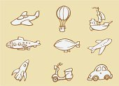 Airplane,Hot Air Balloon,Blimp,Cartoon,Submarine,Motorcycle,Sketch,Rocket,Motor Scooter,Old-fashioned,Drawing - Art Product,Transportation,Spaceship,Vector,Ilustration,Mode of Transport,Air Vehicle,Line Art,Land Vehicle,Galley,Flying,Set,Collection,Isolated Objects,Transportation,Illustrations And Vector Art,hand drawn,Commercial Airplane,Vector Cartoons