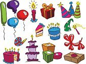 Birthday,Cake,Cartoon,Birthday Cake,Gift,Party Hat,Party - Social Event,Balloon,Icon Set,Drawing - Art Product,Sketch,Candle,Clip Art,Ilustration,Whistle,Vector,Isolated On White,Magic Wand,No People,White Background