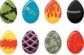 Easter,Eggs,Easter Egg,Animal Egg,Punk,Flame,Skull and Crossbones,Bizarre,Sado-Masochism,Vector,Fire - Natural Phenomenon,Zipper,Ornate,Belt,Striped,Red,Dirty,Colors,Grunge,Multi Colored,Illustrations And Vector Art,Safety Pin,Lifestyle,Easter,Holidays And Celebrations,Holiday,Ilustration