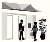 Door,Visit,Open,Lobby,Entrance,Men,Built Structure,Silhouette,Women,Vector,Building Exterior,People,Talking,Businessman,Digitally Generated Image,Two People,Plant,Ilustration,Black Color,Outline,Isolated,Isolated On White,open door,Computer Graphic,Focus on Shadow,Discussion
