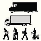 Truck,Moving Van,Delivering,Silhouette,Box - Container,Van - Vehicle,Delivery Van,Vector,Action,Motion,Physical Activity,Men,Moving House,Carrying,People,Driver,Working,Moving Office,Occupation,Hand Truck,Manual Worker,Outline,Driving,Ilustration,Women,Cardboard Box,Job - Religious Figure,Four People