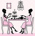 Afternoon Tea,Cupcake,Teapot,Chandelier,Tea Cup,Women,Cake,Teenage Girls,Old-fashioned,Silhouette,Friendship,Femininity,Fashion,Table,Cartoon,Vector,Chair,Furniture,Pink Color,Gossip,Glamour,Wallpaper,Pattern,Female,Ilustration,Elegance,Profile View,Cute,Beauty,Clothing,Talking,Style,Characters,Indoors,Wallpaper Pattern,Sugar Bowl,Milk Jug,Pastel Colored,cup and saucer,Illustrations And Vector Art,Dessert Stand,Food And Drink,Vector Cartoons,People,Drinks,Repetition