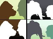 Gorilla,Monkey,Profile View,Ape,Elephant,People,Human Face,Animal,Environment,Drawing - Art Product,Pattern,Outline,Friendship,Living Organism,Animals And Pets,People,Design,Illustrations And Vector Art,Nature,Real People,Protection,Emotion,Pachyderm