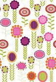 1940-1980 Retro-Styled Imagery,Flower,Pattern,Gardening,Cute,Floral Pattern,Backgrounds,Funky,Vine,Femininity,Vector,Sketch,Vibrant Color,Leaf,Ilustration,Nature,Wallpaper Pattern,Botany,Repetition,Wrapping Paper,Vector Florals,Illustrations And Vector Art,Vector Backgrounds