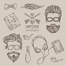 61814,104872,Retro Styled,Feather,Beauty,Headphones,Telephone,Beautiful People,Illustration,Funky,Hipster - Person,Playing,Gentleman - Singer,Vector,Beard