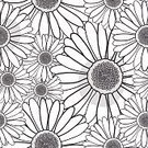 Black And White,No People,Daisy,Plant,Ornate,Summer,Illustration,Nature,Decoration,Backgrounds,Decor,Vector,Pattern,Yellow