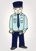 Security Guard,Security Staff,Protection,Cartoon,Uniform,Walkie-talkie,Vector,Men,Toughness,Hat,Ilustration,Safety,Industry,Law Enforcement And Crime,People,Illustrations And Vector Art,Radio