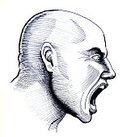 Adult,Vertical,Aggression,Danger,Men,Black And White,Sketch,Ink,Photography,Striped,Shaved Head,Screaming,Completely Bald