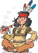 Native American,North American Tribal Culture,Pipe,Symbols Of Peace,Smoking,Smoke - Physical Structure,Men,Feather,Vector,Sitting,Drawing - Activity,Ilustration,Dress,Isolated On White,Lifestyle,Serious,Actions,People,Vertical,Headscarf,White Background,Sitting On Floor,Copy Space,One Person