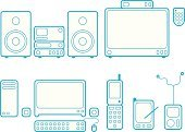 MP3 Player,Television Set,Mobile Phone,Stereo,Personal Data Assistant,Speaker,Remote Control,Telephone,Computer Monitor,Electronic Organizer,Digitized Pen,Palmtop,Turntable,Computer Keyboard,Sound Mixer,PC,Illustrations And Vector Art,Wide Screen,CD
