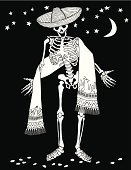 Day Of The Dead,Human Skeleton,Serape,Vector,Black And White,Moon,Star - Space,Scarf,People,Halloween,Vector Cartoons,Holidays And Celebrations,Illustrations And Vector Art,Beckoning,Star Shape,Ilustration