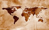 Map,World Map,Globe - Man Made Object,Old,Watercolor Painting,Cartography,Antique,Ancient,Old-fashioned,Retro Revival,Dirty,Large,Asia,USA,Europe,Planet - Space,Paper,Parchment,Textured,Nostalgia,Backgrounds,Brown,Rustic,The Americas,Color Image,Textured Effect,Stained,Copy Space,Rough,Horizontal,Travel Backgrounds,Travel Locations,Damaged,Business,Arts And Entertainment,Business Travel,Weathered,Run-Down,Handmade Paper,Arts Backgrounds