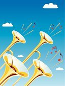 Trumpet,Brass Instrument,Brass Band,Musical Note,Bugle,Brass,Music,Vector,Ilustration,Sky,Blue,Wind Instrument,Cloud - Sky,Sound,Arts And Entertainment,Music,Illustrations And Vector Art,Success,Cumulus Cloud,Yellow,Shiny,Concepts And Ideas