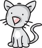 Domestic Cat,Cartoon,Animal,Kitten,Vector,Pets,Cute,Clip Art,One Animal,Contour Drawing,Ilustration,Animal Themes,Gray,Caricature,Small,Sitting,Fun,Farmhouse,Feline,Happiness,Thinking,Whisker,Purebred Cat,Staunen,Sitzt,Mammal,Domestic Animals,Front View,Vector Cartoons,Cats,Illustrations And Vector Art,Animals And Pets,Isolated On White