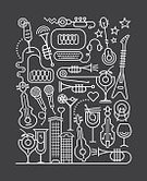 Cut Out,Abstract,Celebration,Martini Glass,Classical Concert,Line Art,Music,Equipment,Guitar,Traditional Festival,Microphone,Headphones,Martini,Single Line,Illustration,People,Musical Instrument,Symbol,Concert,Rock Music,Music Festival,Music Store,Cocktail Party,Technology,Trumpet,Popular Music Concert,Heart Shape,Building Exterior,Violin,Cocktail,Electric Guitar,Karaoke,Arts Culture and Entertainment,Musician,Vector,Drum - Percussion Instrument,Computer,Piano,Party - Social Event,Gray,Dark