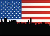 Chicago,Flag,American Flag,Urban Skyline,Illinois,City,USA,Vector,Silhouette,Illustrations And Vector Art,Travel Locations,Architecture And Buildings,Sky,Back Lit,Skyscraper,Black Color,Ilustration