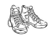 Shoe,Sports Shoe,Sketch,Fashion,Black Color,Incomplete,White,Ilustration,Hand-drawn,Pencil Drawing,Black And White,Digitally Generated Image,Painted Image,Power,Sports Symbols/Metaphors,Isolated Objects,old-school,Color Image,Concepts And Ideas,Sports And Fitness